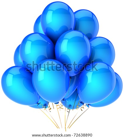 Party balloons blue Happy birthday decoration. Anniversary retirement graduation greeting card concept. Joy happiness fun positive emotion concept. Detailed 3d render. Isolated on white background