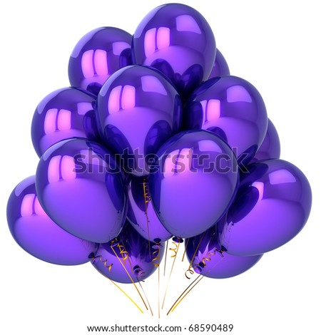 Party balloons blue purple helium balloon baloon. Happy birthday anniversary graduation retirement celebrate decoration. Joy fun positive emotion concept. 3d render isolated on white background