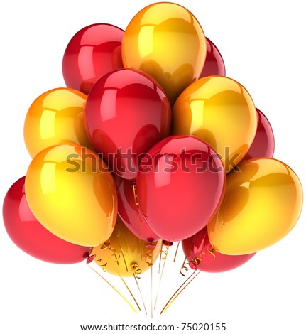 Party balloons bunch yellow red colors. Happy birthday greeting card decoration. Happiness joyful joy fun positive emotion abstract. Detailed 3d render. Isolated on white background