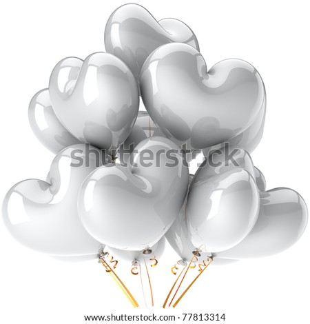 Party balloons clean white heart shaped spark beautiful birthday wedding marriage love valentines day celebration greeting card design element. 3d render isolated