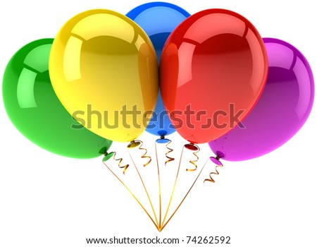 Party balloons colorful five multicolored blank birthday celebrate anniversary graduation retirement holidays advertisement decoration. Joy happy positive abstract. 3d render isolated on white