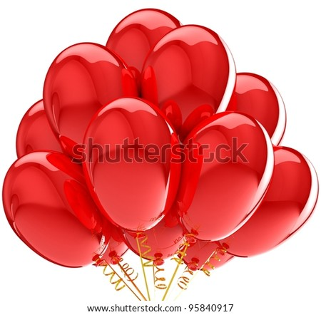 Party balloons colorful red. Decoration for anniversary celebration.