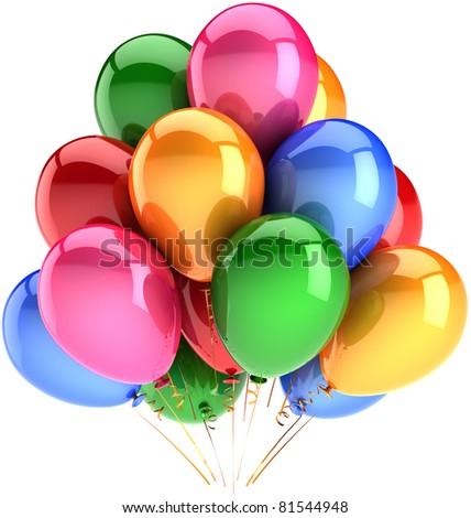Party balloons decoration birthday balloon baloons multicolor. Fun happy joy positive emotions abstract. Festival anniversary graduation celebrate concept. 3d render isolated on white background