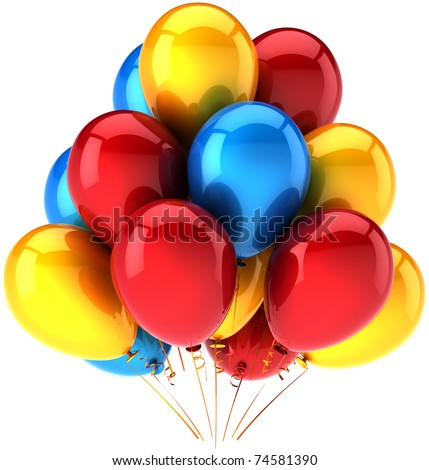 Party balloons decoration multicolor. Happy birthday joy positive emotions concept. Holiday weekend celebration show performance abstract. Detailed 3d render. Isolated on white background