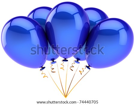 Party balloons 5 five blue birthday decoration blank celebrate anniversary graduation retirement greeting card design element. 3d render isolated on white background