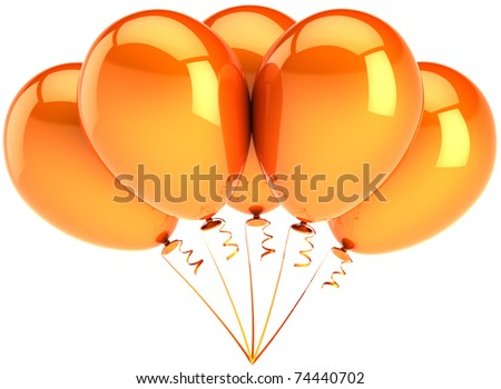 Party balloons five colored hot orange. Shiny birthday celebrate decoration. Positive joyful summer emotions abstract. This is a detailed three-dimensional render 3D. Isolated on white background