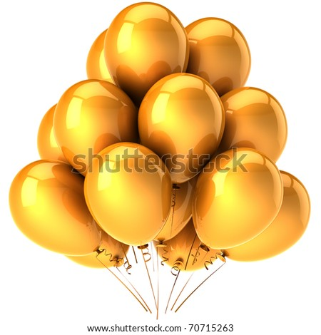 Party balloons gold yellow golden decoration. Happy birthday party anniversary graduation greeting card concept. Joy fun happiness positive emotion abstract. 3d render isolated on white background