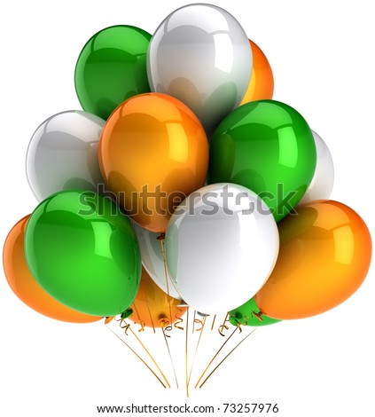 Party balloons green orange white multicolor happy birthday anniversary graduation retirement occasion celebrate holiday decoration. Positive joy abstract. 3d render isolated on white background