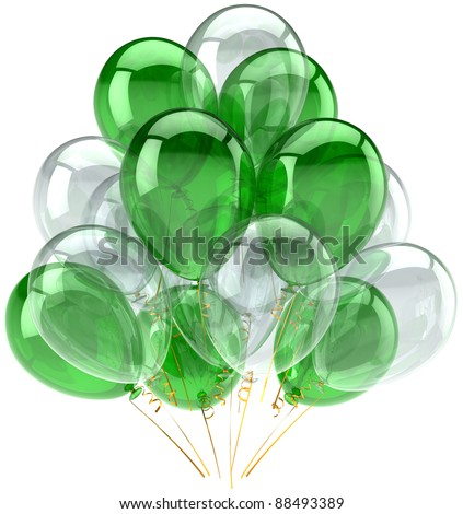 Party balloons green white colorless translucent. Happy birthday decoration anniversary retirement graduation celebration. Joy fun positive abstract. Detailed 3d render. Isolated on white background
