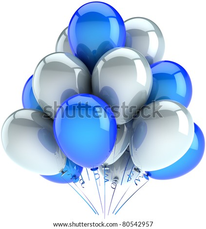 Party balloons happy birthday balloon decoration white blue colors. Anniversary graduation retirement celebrate greeting card design element concept. Detailed 3d render. Isolated on white background