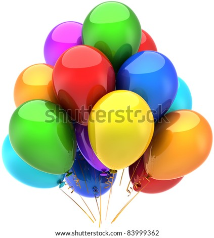 Party balloons happy birthday holiday celebrate decoration multicolor. Anniversary retirement graduation sale occasion greeting card concept. Detailed 3d render. Isolated on white background