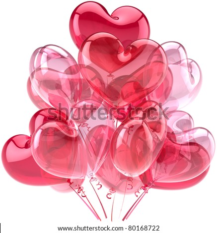 Party balloons heart pink red birthday valentine's day romantic love decoration. 14 february mother's day wedding marriage honeymoon friendly greeting card design element. 3d render isolated