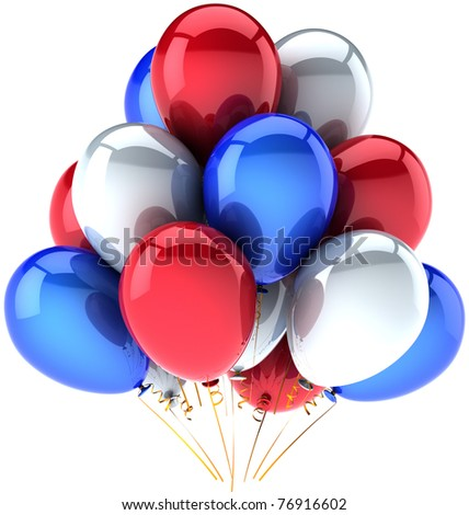 Party balloons Independence Day colored red white blue decoration birthday celebration anniversary greeting card. USA Independence Day 4th of july national celebrate greeting card. 3d render isolated