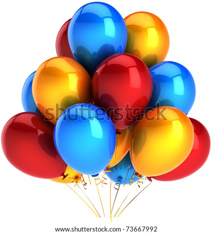 Party balloons multicolor blue orange red. Shiny colorful decoration for birthday holiday celebration. Joyful happiness childhood abstract. This is a detailed render 3d. Isolated on white background