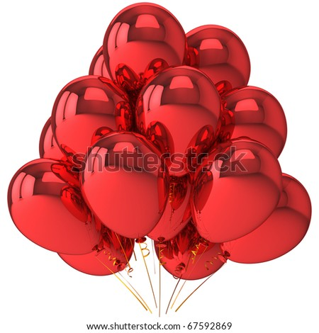 Party balloons red birthday celebrate life events New Years Eve Merry Christmas Valentines day anniversary decoration. Happiness joyful fun concept. 3d render isolated on white background