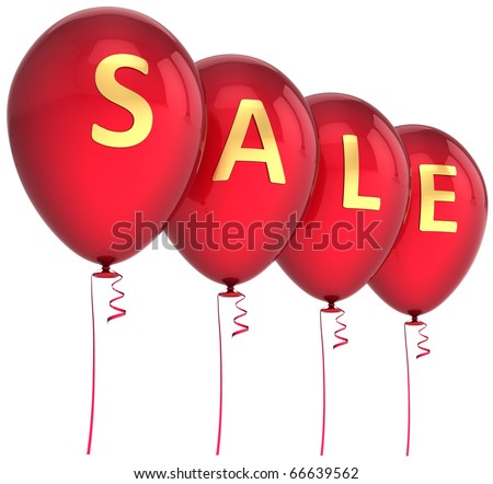 Party balloons sale word red balloon commercial save money savings. Retail shopping business e-commerce cheap price tax celebrate black friday decoration. 3d render isolated on white background
