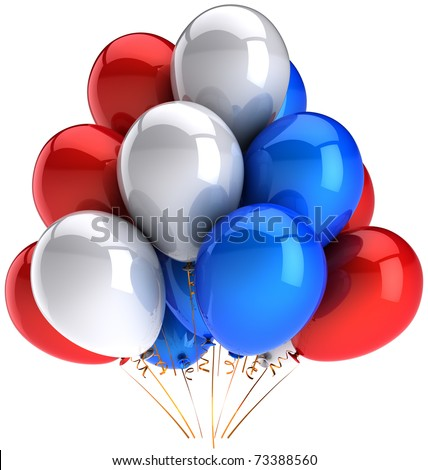 Party balloons 4th of July Independence Day red white blue colorful happy birthday anniversary celebrate holiday decoration. Positive emotion abstract joy icon. 3d render isolated on white background