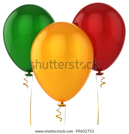 Party balloons 3 three birthday life events decoration blank green red yellow. Happy joy positive emotion abstract. Celebrate occasion life events greeting card. 3d render isolated on white background
