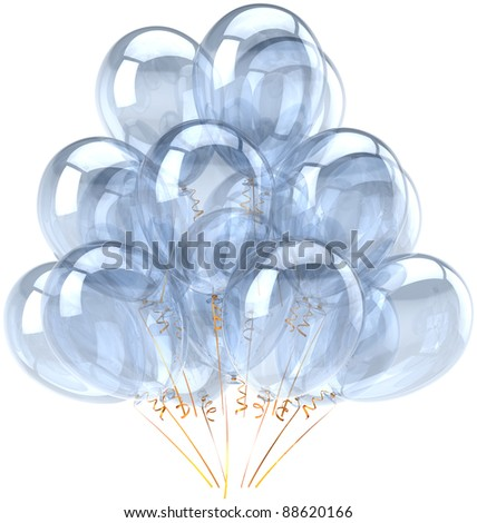 Party balloons white birthday balloon decoration blank colorless bubbles translucent clean desaturated. Holiday anniversary graduation retirement celebrate greeting card design element 3d render