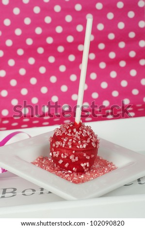 party cake pop with pink dotted background