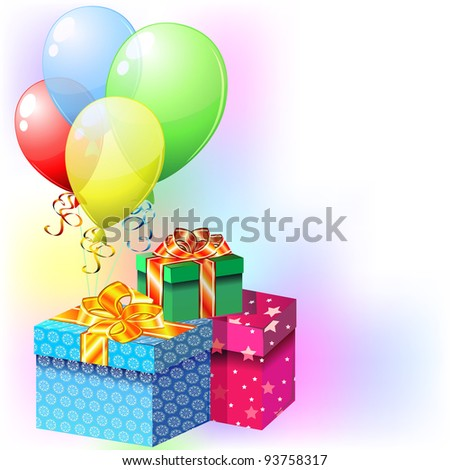 Party card with colorful balloons and gifts with ribbons and bows - stock photo
