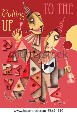 Party card with Funny clowns