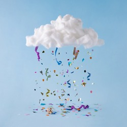 Party cloud with colorful confetti and streamers. Minimal celebration background.