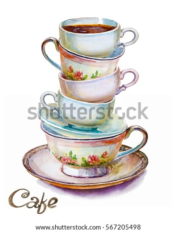 party colorful tea cups and...
