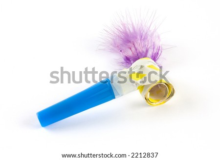 Party colorful whistle shot over white background