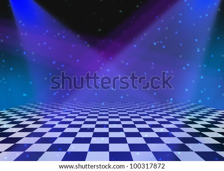 Party dance and dancing floor made of checkered tiles and shining spot lights with sparkles and reflections as a fun disco music entertainment background for an announcement or festive message.