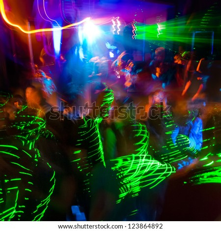 Party. Dancing people. A party in a nightclub.
