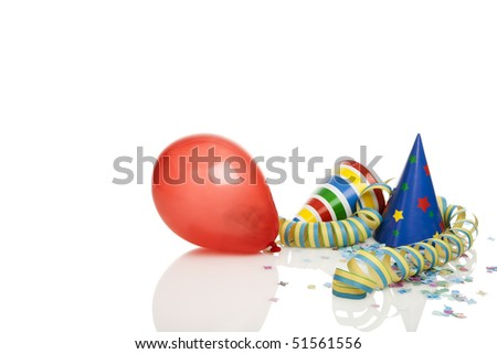 party decoration -  balloon, streamer, confetti, party hats isolated on white, copy space top and left