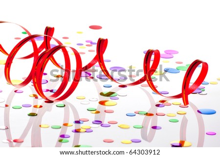 Party decoration on white background
