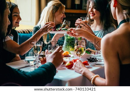 Party dinner table, celebrating with friends of family served at home or in a restaurant. #740133421