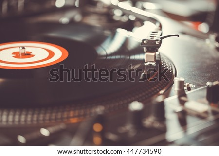 Party dj turn table vinyl record player.Audio equipment for club party.Vintage turntables for concert.Retro audio setup for disc jockey to play music in high quality