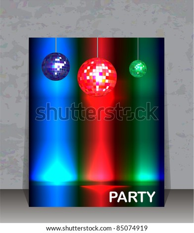 Party flyer template. Disco ball party background with space for your text.  Also available in vector format.