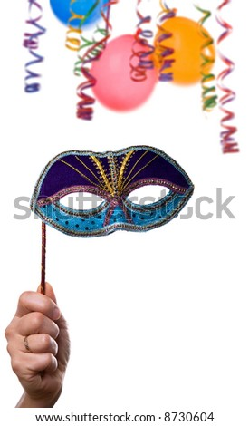 party frame ,hand with mask confetti and balloons isolated on white background