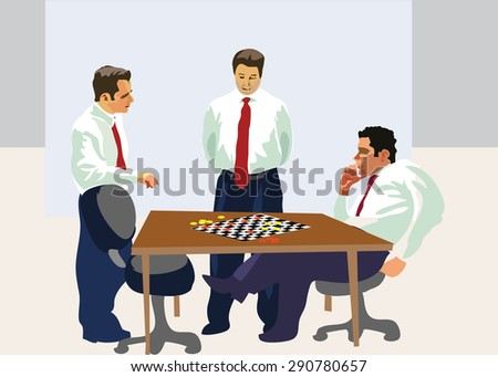 Party games of checkers, board games. illustration