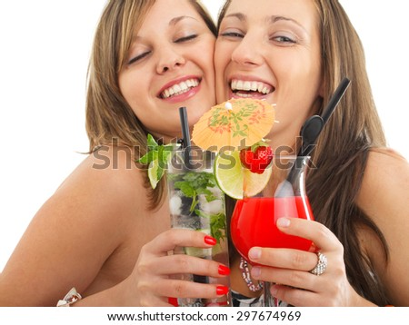 Party girls with cocktails #297674969