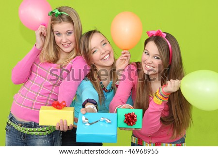 party girls with presents