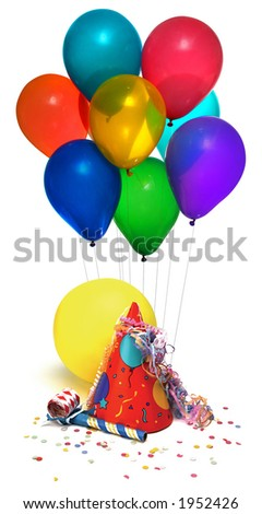 party hat, balloons, noisemaker, confetti on white