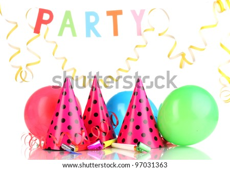 Party items isolated on white - stock photo