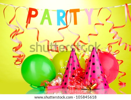 Party items on green background