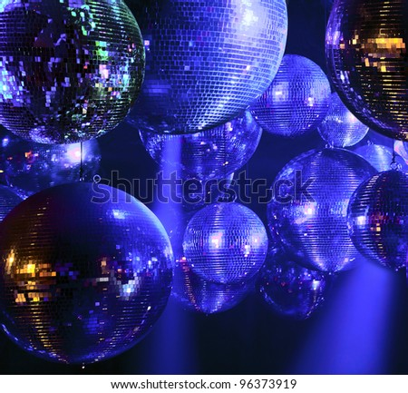 Party lights disco ball at nightclub