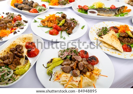 Party meals on the table
