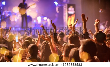 Party People Rock Concert. Crowd Happy and Joyful and Applauding Clapping. Celebration party festival happiness. Entertainment party. Digital Technology Social Job Everywhere. Social Online Marketing.