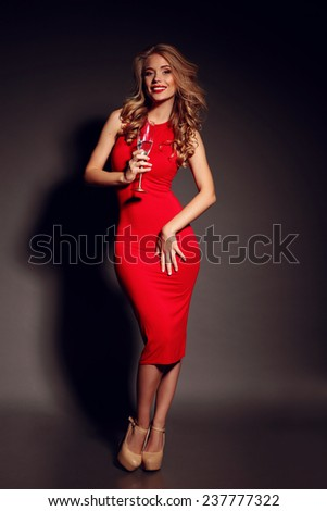 Party Photo Of Elegance Sexy Lady In Red Dress With Red Lips And Blond Beautiful Curly
