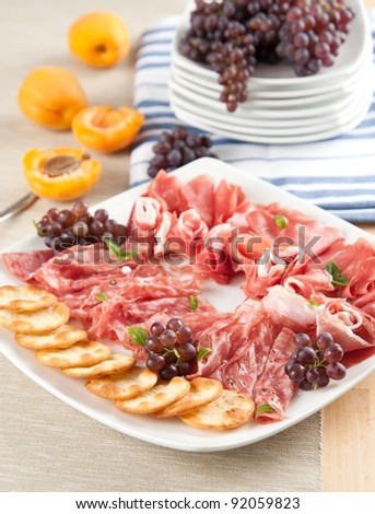 Party Platter of Assorted Cured Meats, Fruit and Crackers