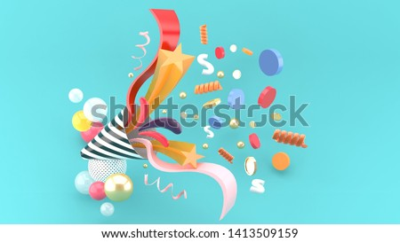 Party popper amidst the like buttons, coins, stars, ribbons among colorful balls on a blue background.-3d rendering.