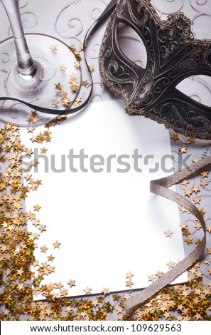 party still life with blank paper for your text - stock photo